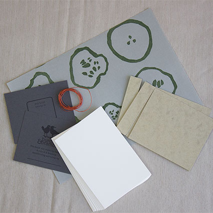 photo of stab binding sampler materials